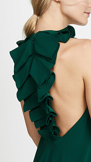 Badgley Mischka Collection Ruffle Back Gown