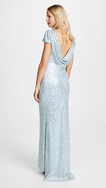 Badgley Mischka Collection Draped Back Gown - Ice Blue