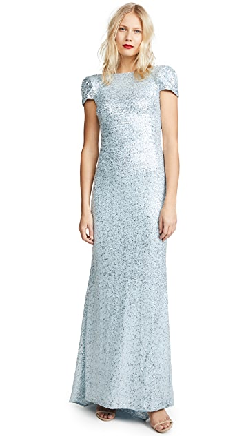 Badgley Mischka Collection Draped Back Gown