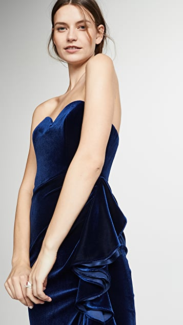 Badgley Mischka Collection Velvet Ruffle Dress