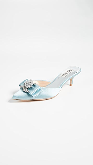 Badgley Mischka Hagen Point Toe Kitten Heels - Crystal Blue