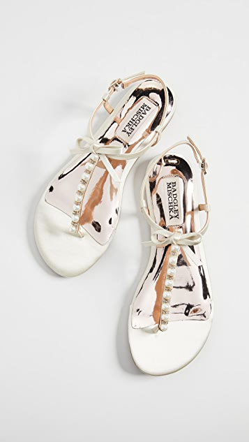 Badgley Mischka Honey Imitation Pearl T-Strap Sandals