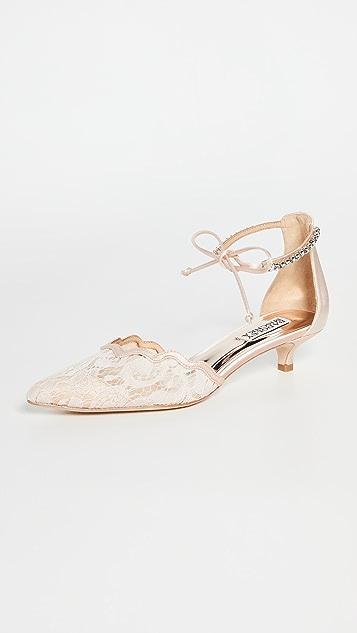 Badgley Mischka Betsy 缎面蕾丝高跟鞋