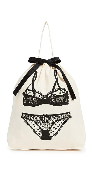 Bag-all Polka Dot Lingerie Organizing Bag - Natural/Black