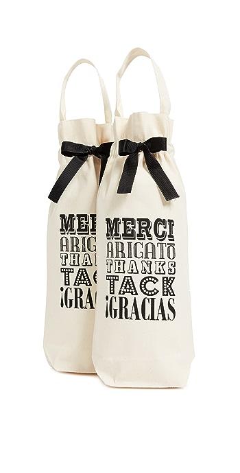 Bag-all Set of 2 Merci! Wine Bags - Natural/Black