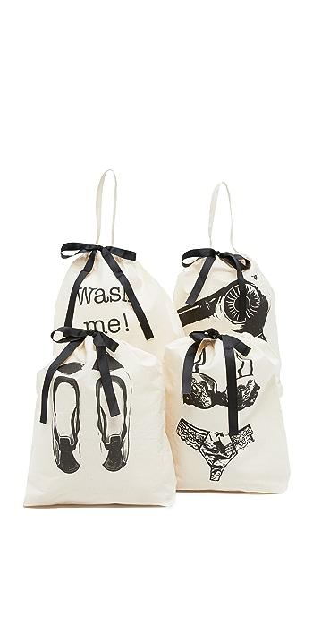 Bag-all Womens 4 Pack Bag Set - Black/Natural