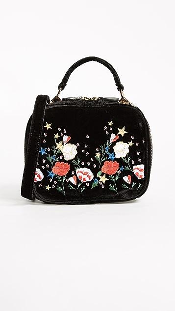 Studio 33 Floral Embroidery Box Bag - Black