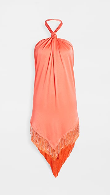 Baja East 珠饰流苏连衣裙