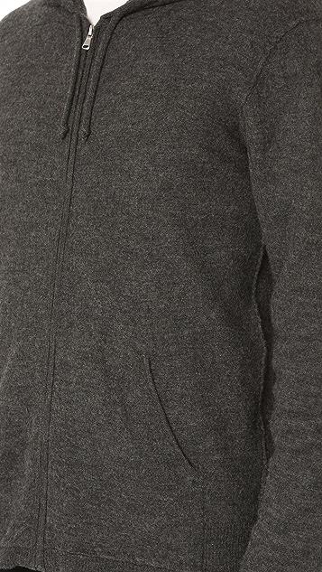 Baldwin Denim Ash Zip Boiled Wool & Cashmere Hoodie