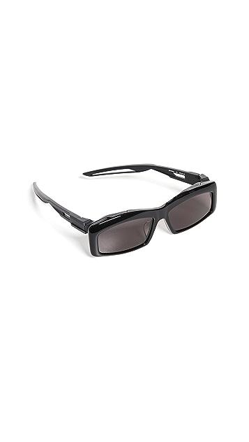 Balenciaga 混合醋酸纤维塑料窄版运动太阳镜