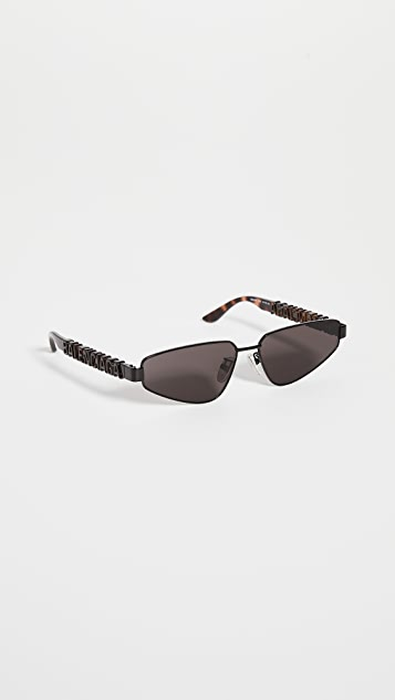 Balenciaga Typo Narrow Logo Temple Sunglasses