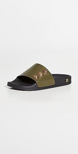 Balmain - Button Embellished Flat Slides
