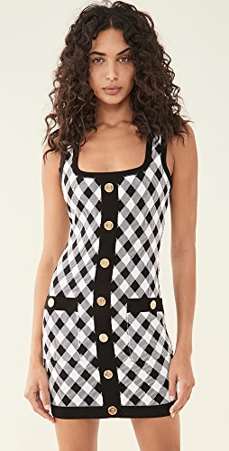 Balmain - Short Buttoned Gingham Jacquard Dress