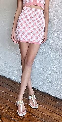 Balmain - Short Gingham Skirt