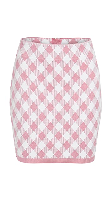 Balmain Short Gingham Skirt