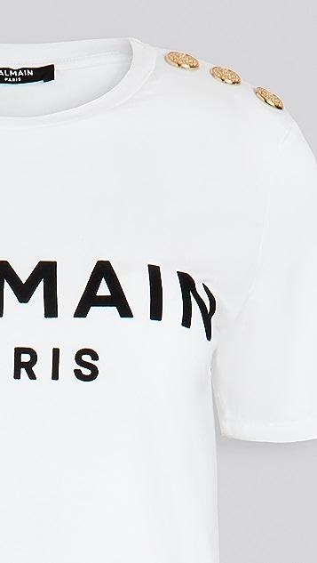 Balmain 3 Button Flocked Logo T-Shirt