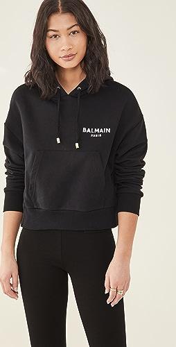 Balmain - Cropped Flocked Logo Detail Hoodie