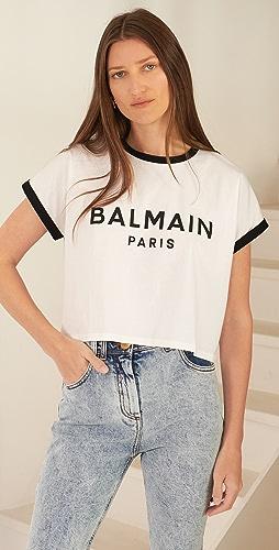 Balmain - Cropped Printed Logo T-Shirt