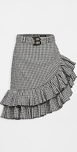 Balmain - Short Asymmetric Ruffled Gingham Skirt
