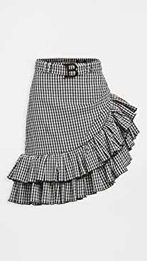 Balmain Short Asymmetric Ruffled Gingham Skirt