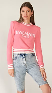Balmain Cropped Logo Sweater