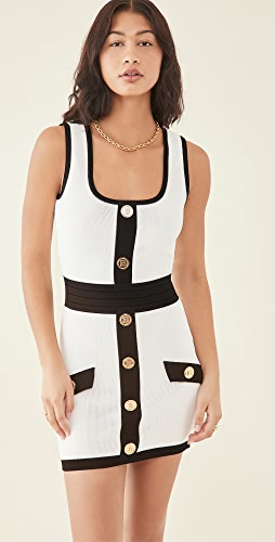 Balmain - Short Buttoned Two-Tone Knit Strap Dress