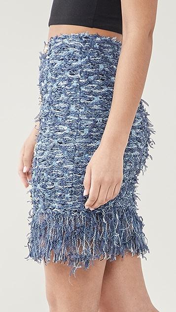 Balmain Short Tweed Skirt