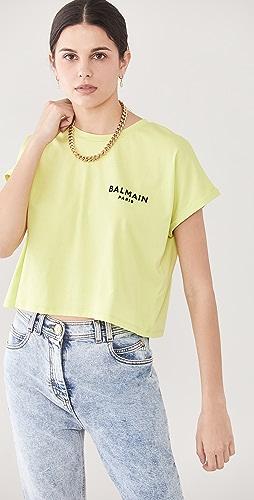 Balmain - Cropped Flocked Logo T-Shirt