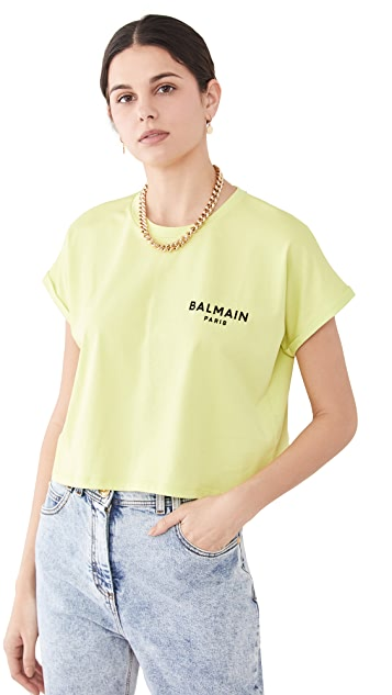 Balmain Cropped Flocked Logo T-Shirt
