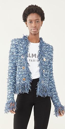 Balmain - Collarless Fringed Tweed Jacket