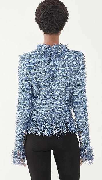 Balmain Collarless Fringed Tweed Jacket