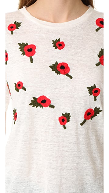 Banner Day Embroidered Poppies Tee