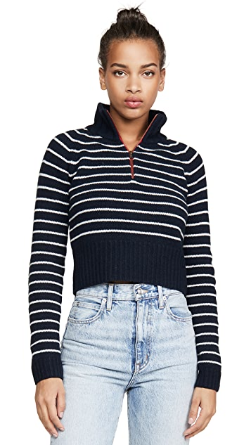 By any Other Name Cropped Zip Cashmere Pullover