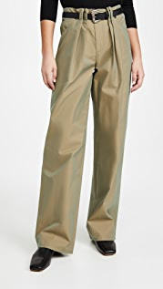 By any Other Name Pleated Utility Pants with Faux Leather Belt