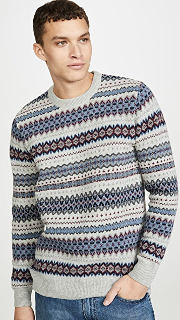 Barbour Long Sleeve Case Fair Isle Crew Neck Sweater