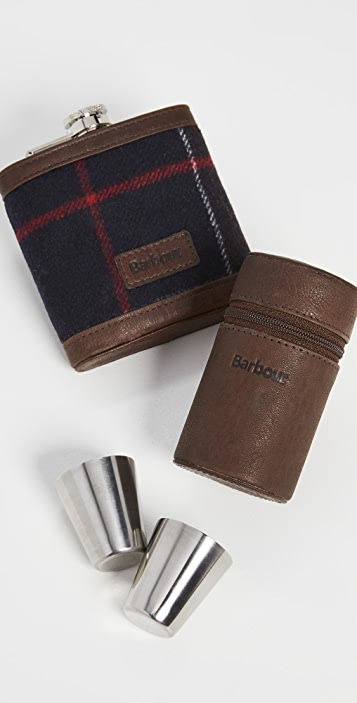 Barbour Tartan Hip Flask and Cups Gift Set