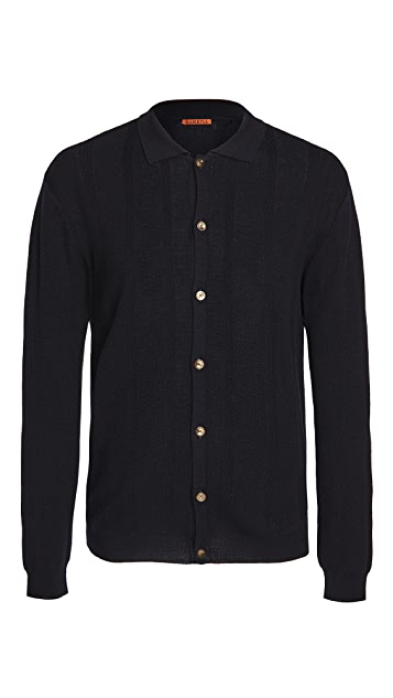 Barena Venezia Sorada Wool Long Sleeve Polo Shirt