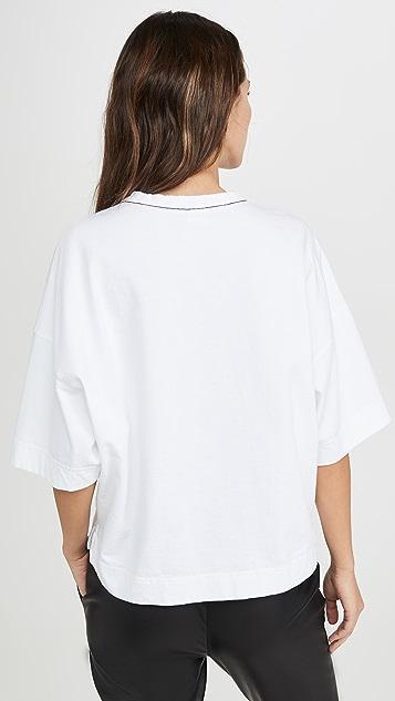 牛仔半裙 双层平纹针织面料宽松 T 恤