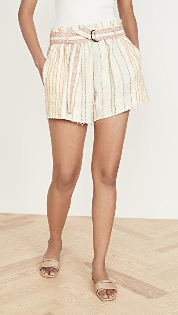 Bassike Textured Belted Mini Shorts