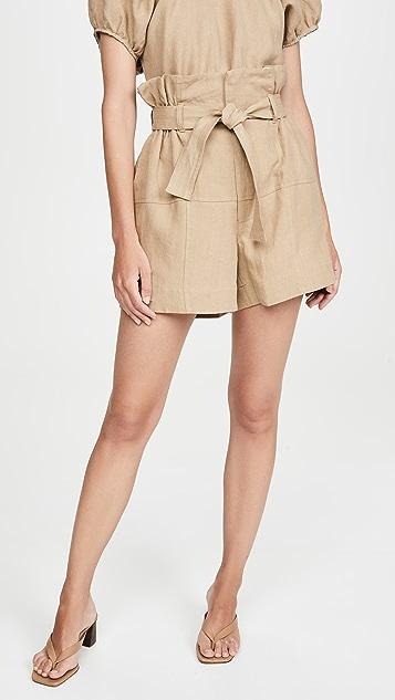 Bassike Linen Belted Shorts