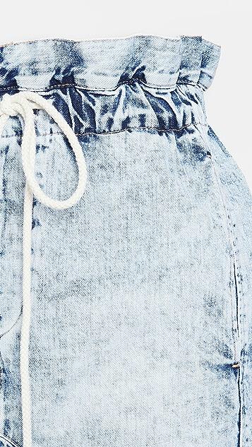 牛仔半裙 Motley 牛仔布纸包半身裙