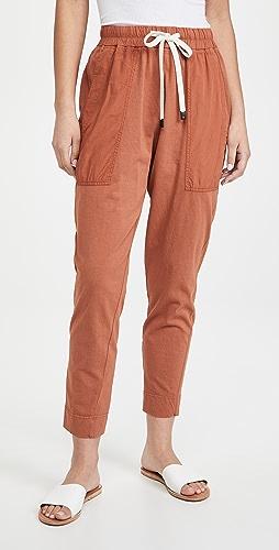 Bassike - 双面平纹针织面料撞色锥形窄脚裤