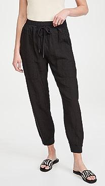 Bassike Utility Linen Rib Cuff Pants