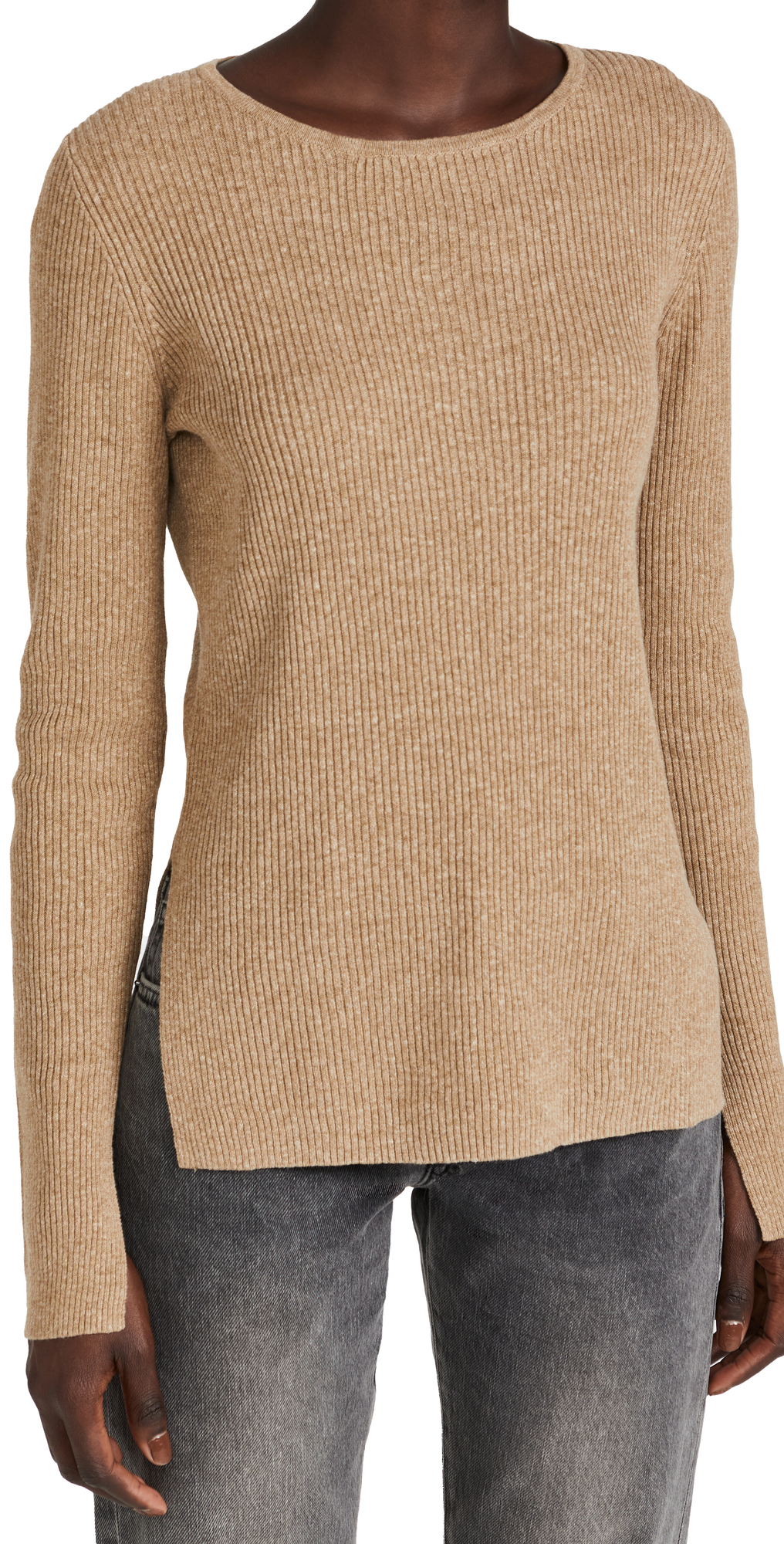 Fine Cotton Linen Ribbed Knit Sweater