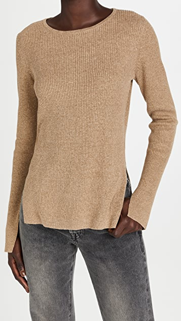 Bassike Fine Cotton Linen Ribbed Knit Sweater