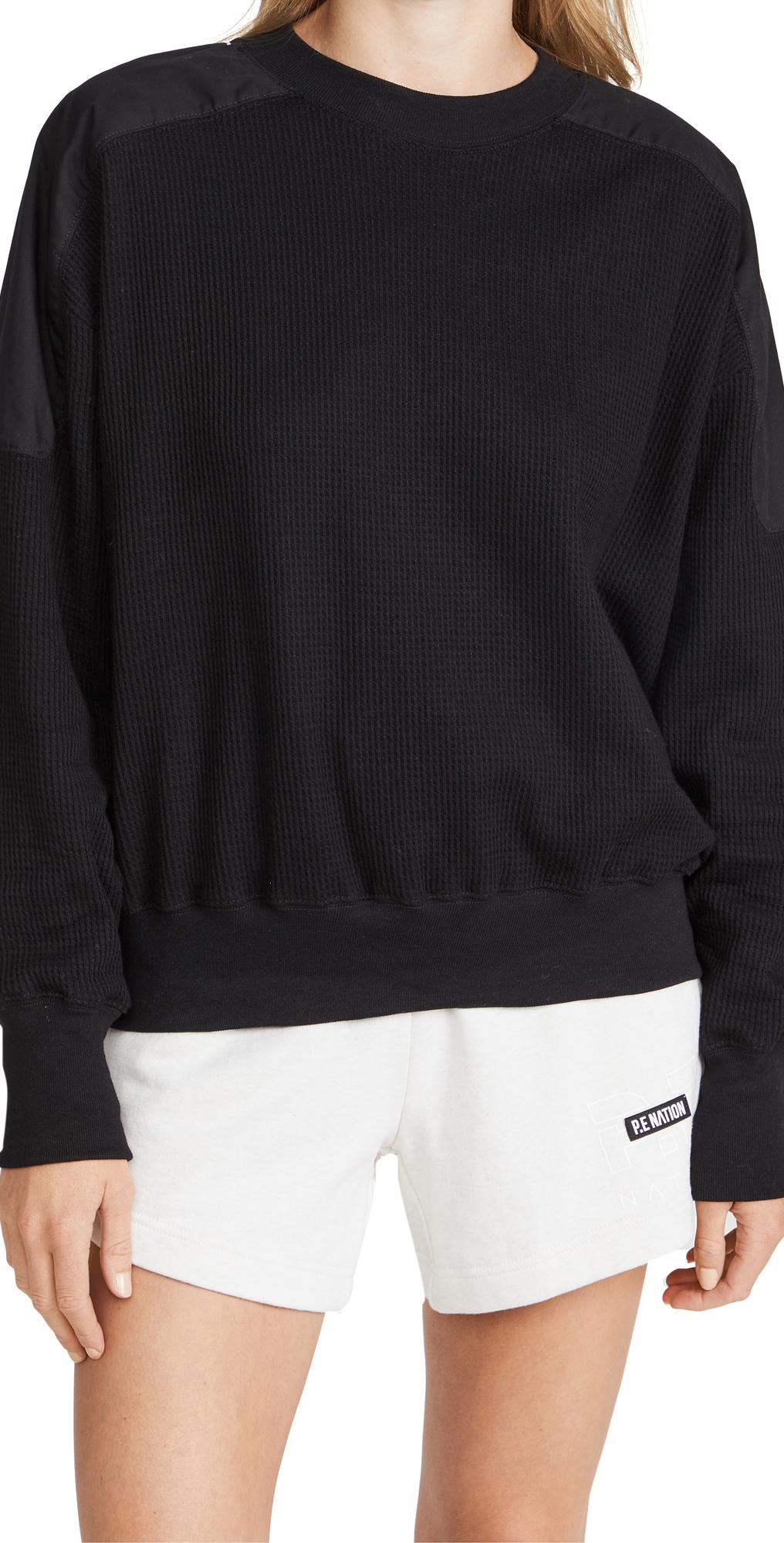 Waffle Detail Batwing Sweatshirt
