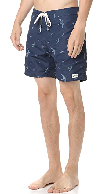 Bather Multicolor Bird Surf Trunks