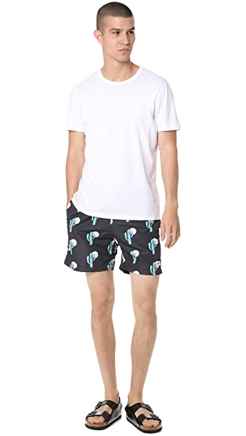 Bather Cactus Pattern Swim Trunks