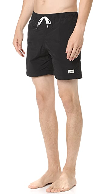 Bather Solid Black Swim Trunks