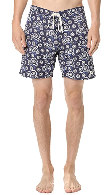 Bather Indigo Flower Surf Trunks